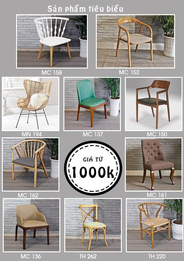 10 mẫu ghế cafe giá từ 1000k trở lên