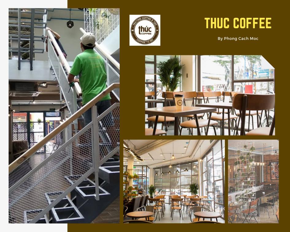 phong cách mộc thiết kế thi công nội thất cho hệ thống thức coffee