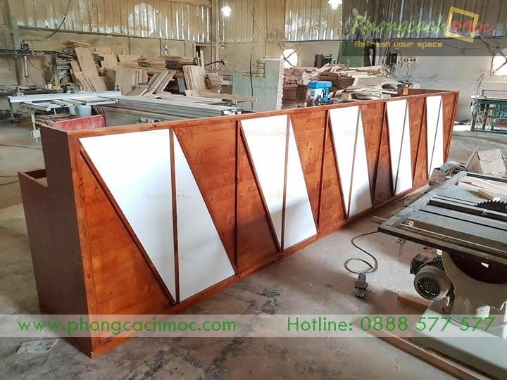 quầy gỗ mr123 tại xưởng sản xuất pcm