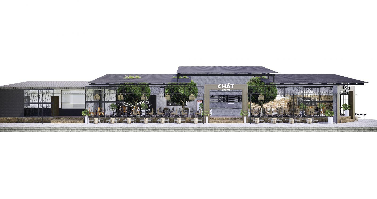 mặt tiền rộng của quán cafe chất coffee sở hữu