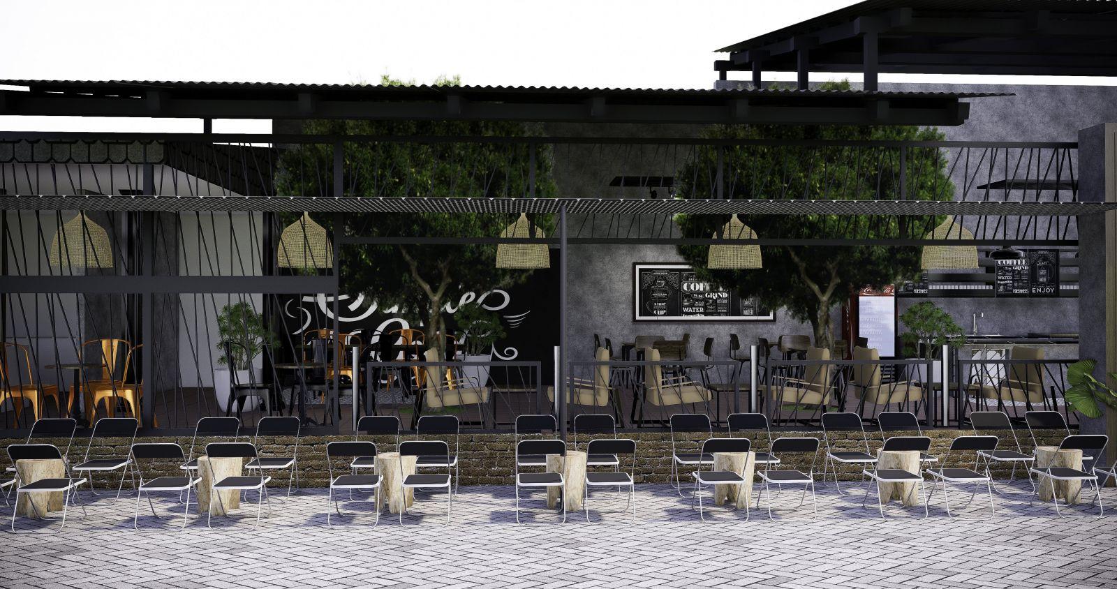 thiết kế không gian mở của quán cafe sân vườn chất coffee