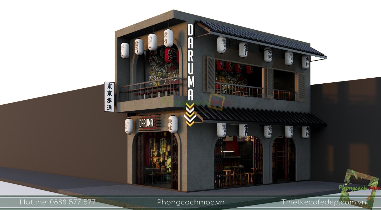 Thiết kế quán cafe bia Daruma