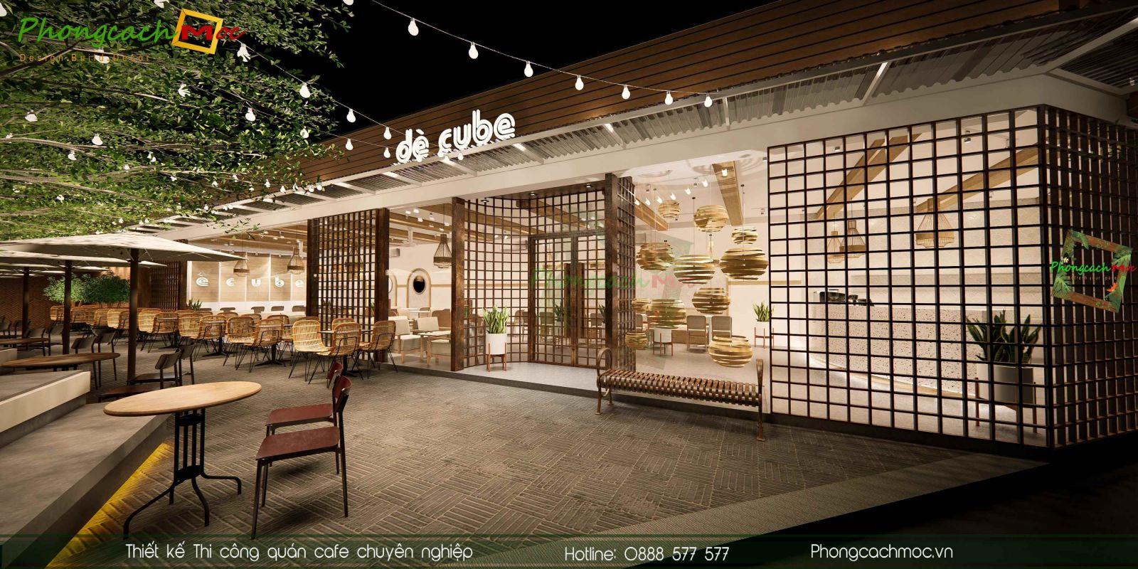 Thiet ke khong gian cafe ngoai troi De Cube Coffee & Tea