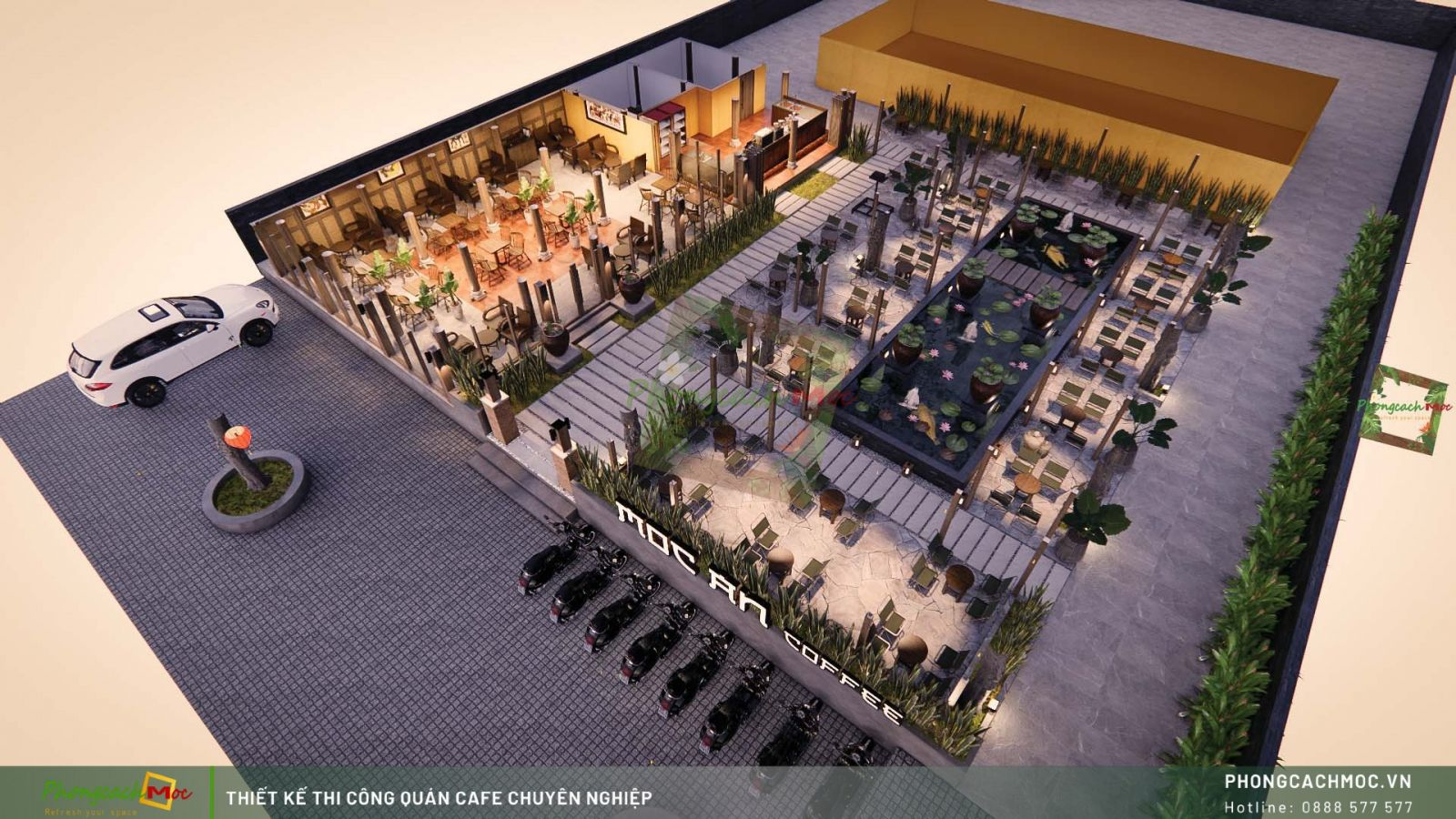 Thiết kế layout 3D Mộc An Coffee - Tây Ninh
