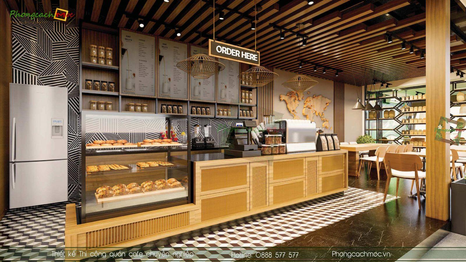 Thiet ke khu vuc quay quan cafe Crown Coffee