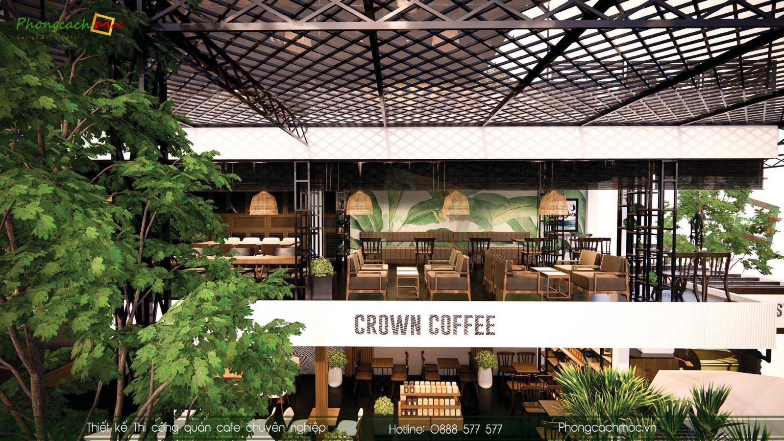 Thiet ke quan cafe hien dai Crown Coffee