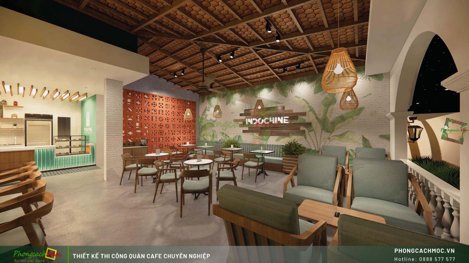 Thiết kế không gian tầng trệt Indochine Coffee