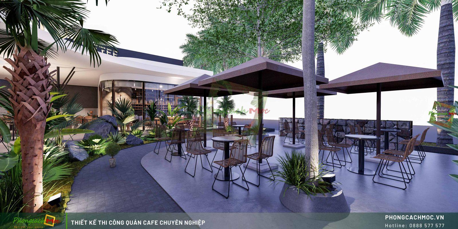 Thiết kế không gian ngoài trời Nemo Coffee