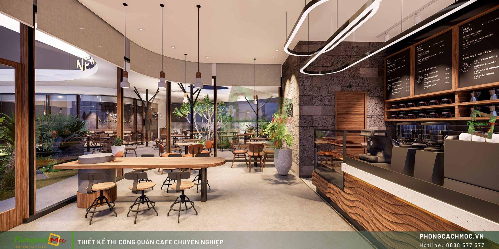 Thiết kế không gian phòng lạnh Nemo coffee