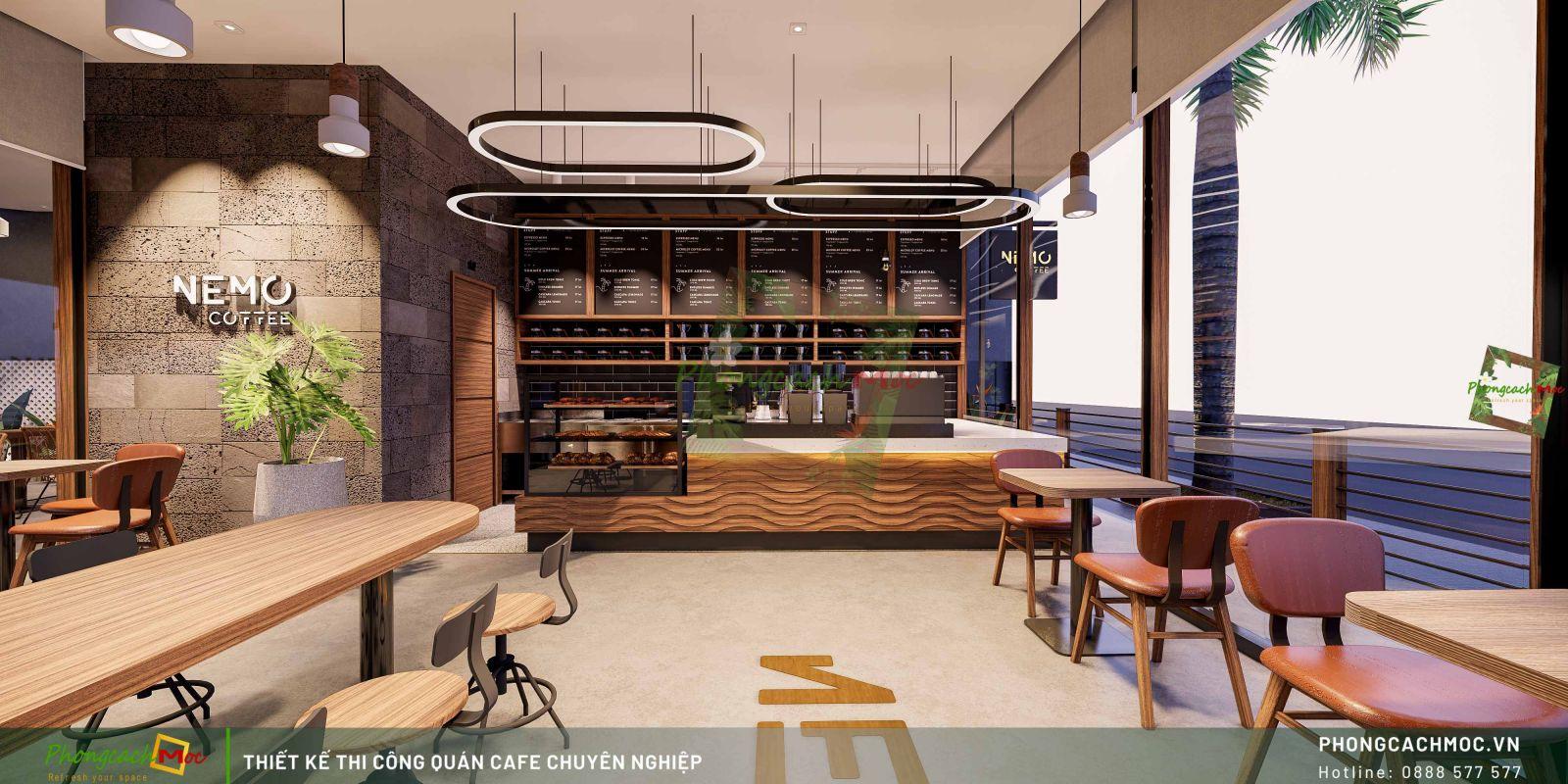 Thiết kế không gian khu cafe máy lạnh Nemo