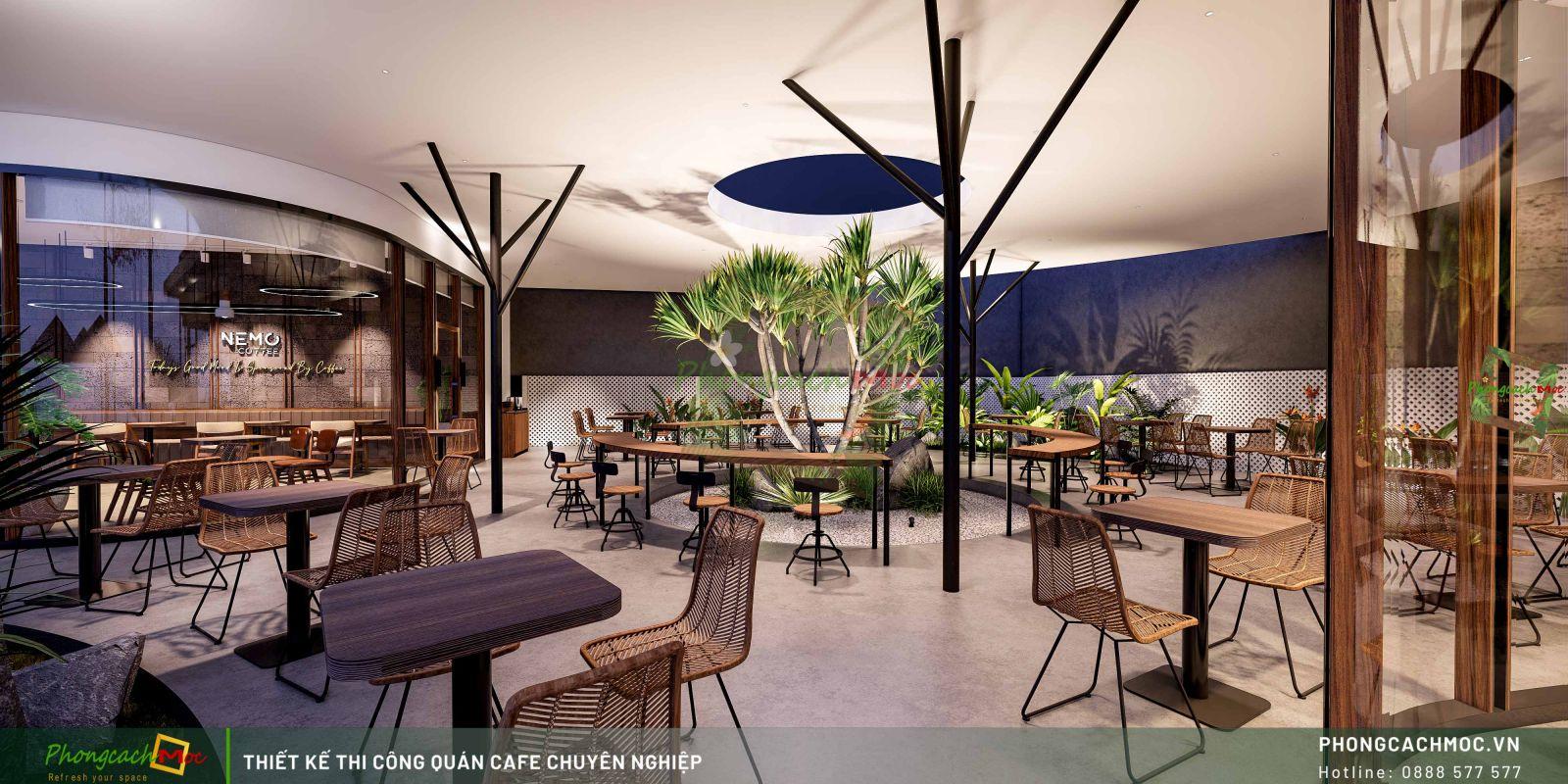 Thiết kế khu cafe không gian mở