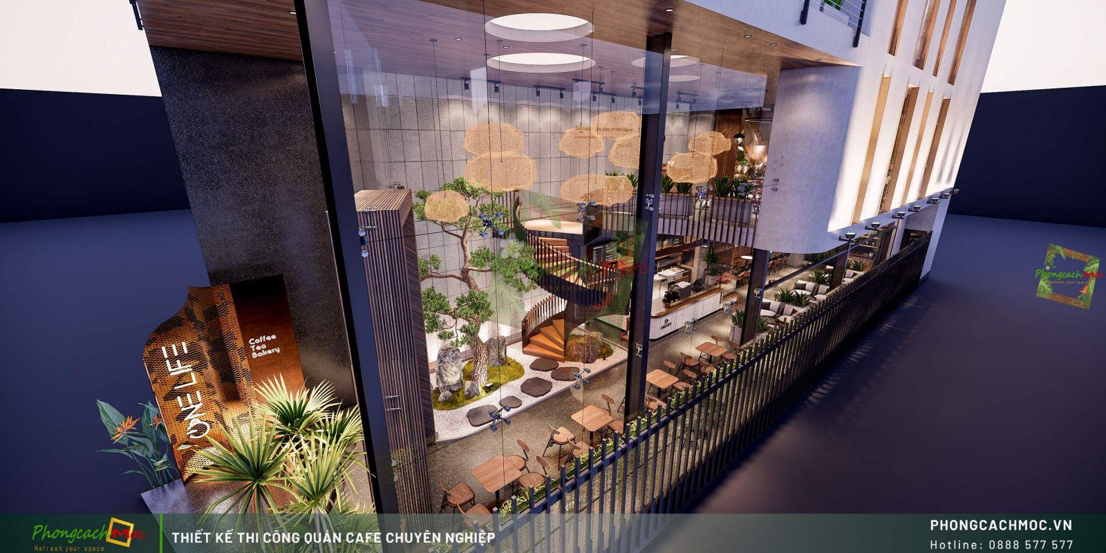 Thiết kế quán One Life Coffee -Khoảng thông tầng