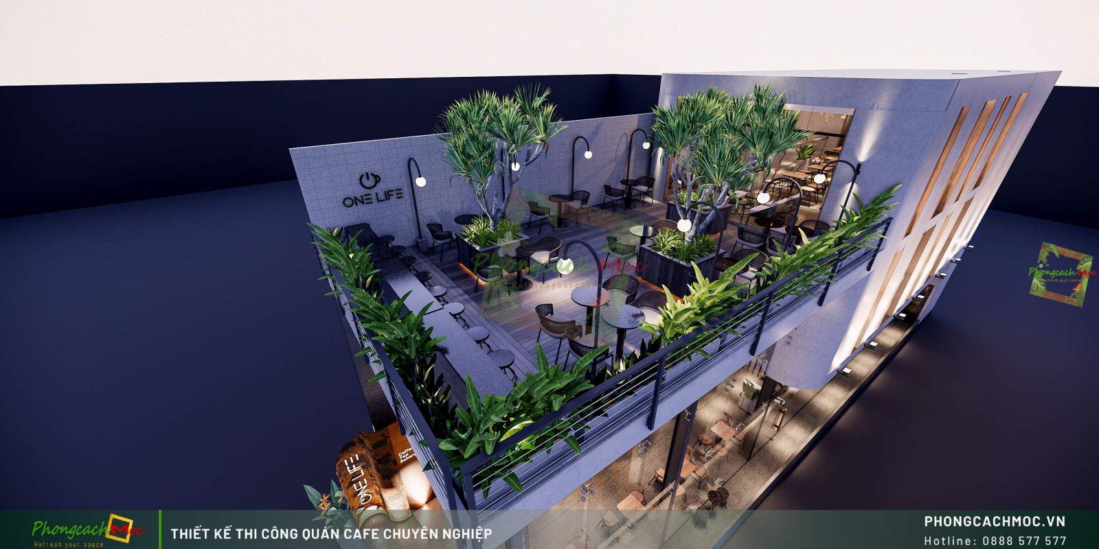 Thiết kế quán One Life Coffee - Rooftop
