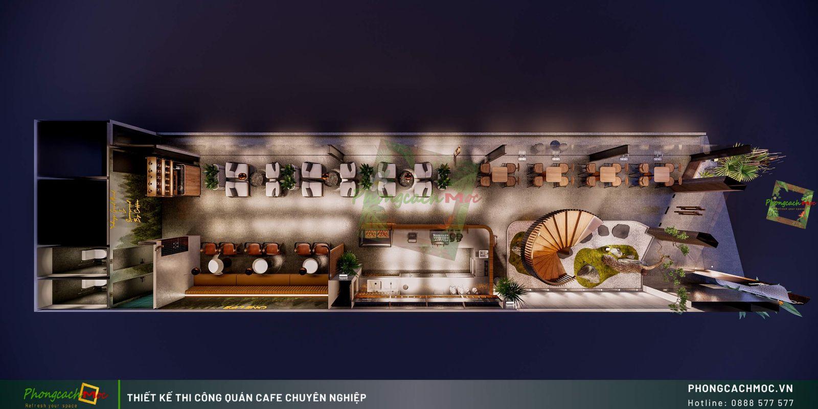 Mặt bằng thiết kế One Life Coffee - Tầng trệt