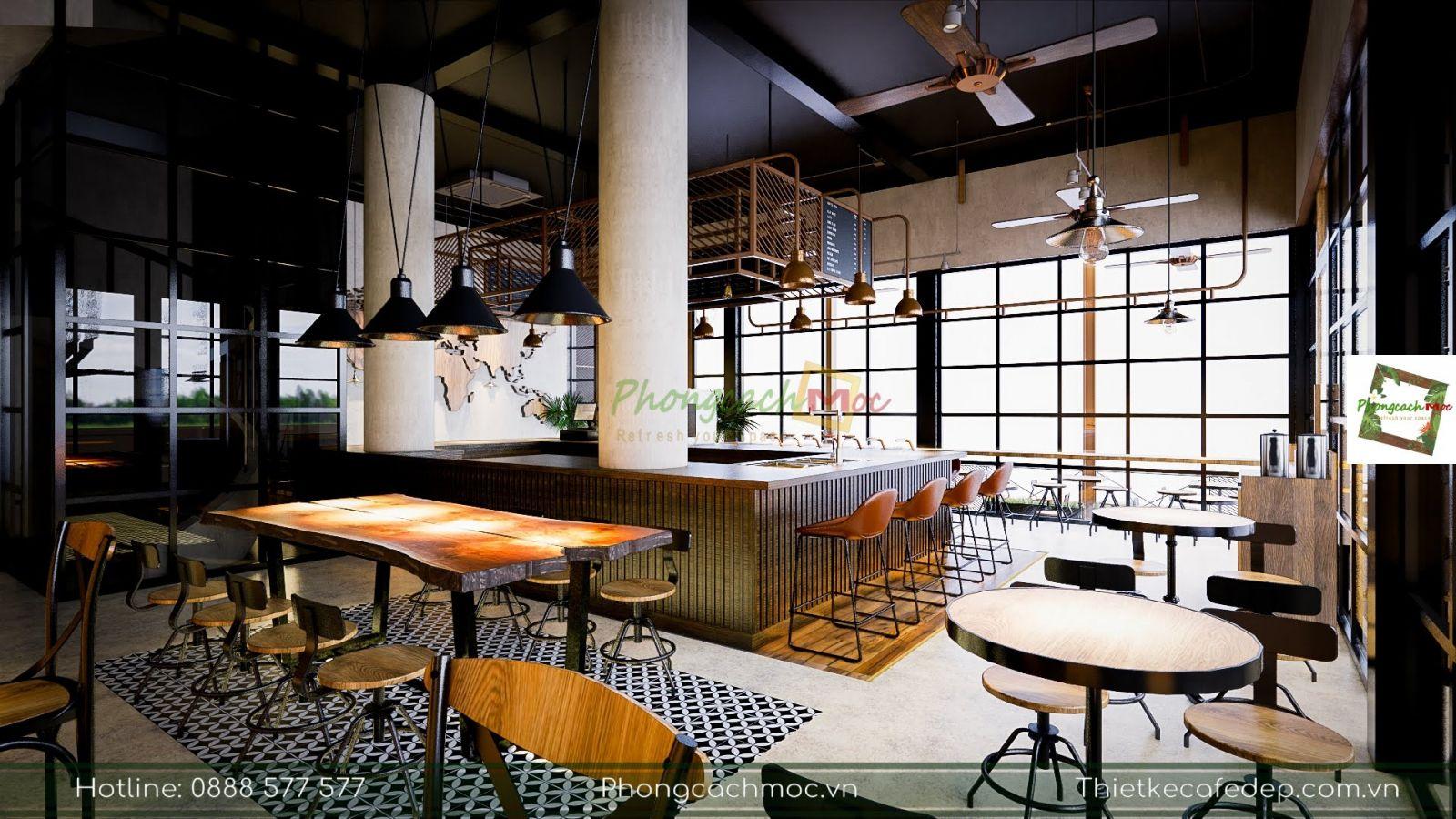 bàn ghế bar vintage trong nội thất quán palermo coffee