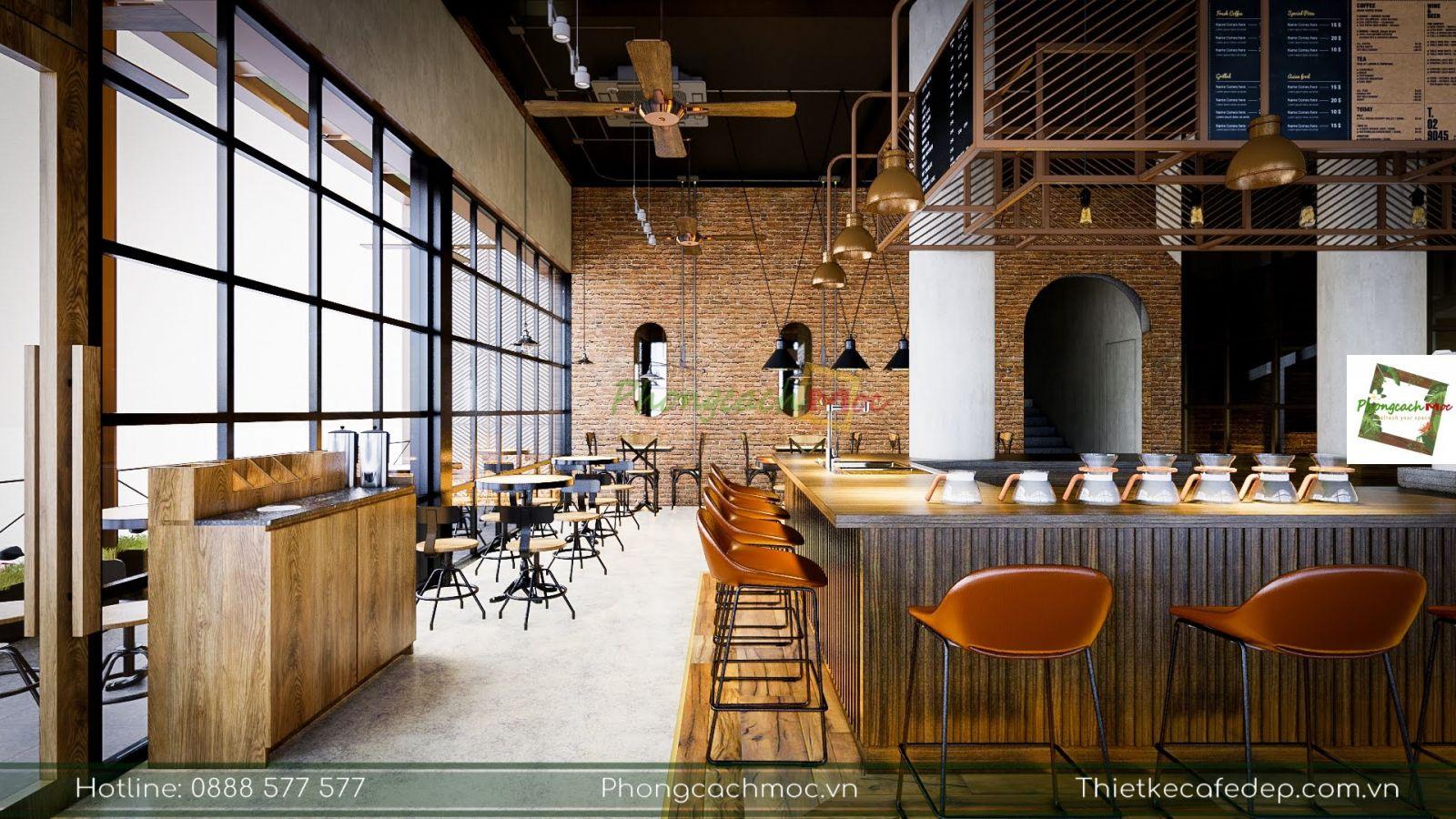 thiết kế không gian nội thất quán cafe palermo coffee
