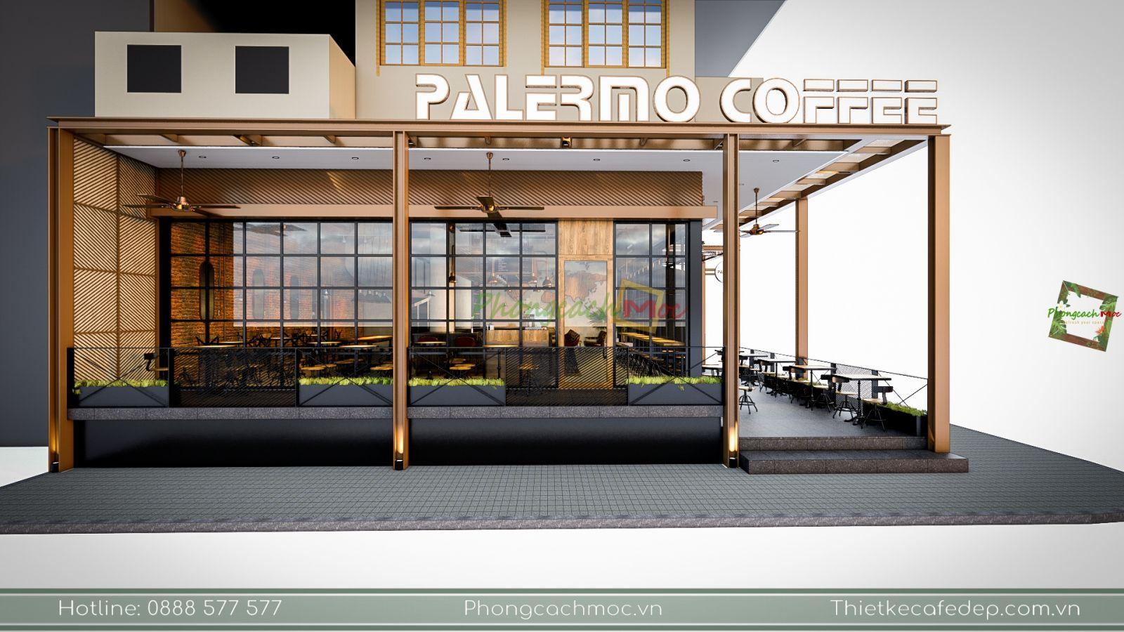 dự án thiết kế quán cafe 2 mặt tiền palermo coffee tại bình thạnh tphcm