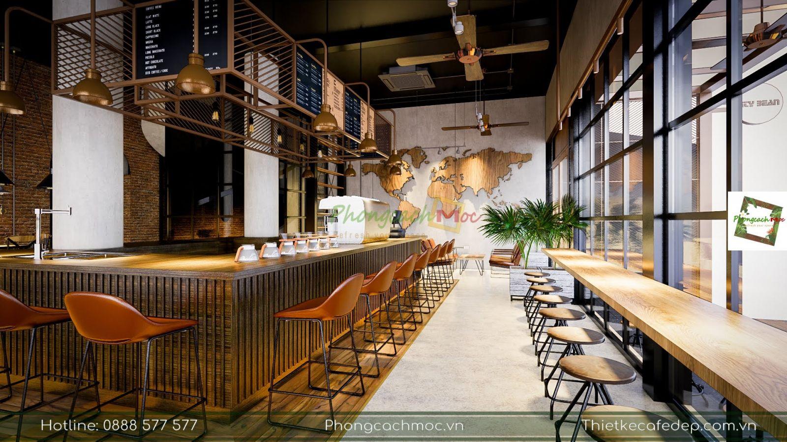 khu vực quầy bar phục vụ quán cafe kết hợp workshop