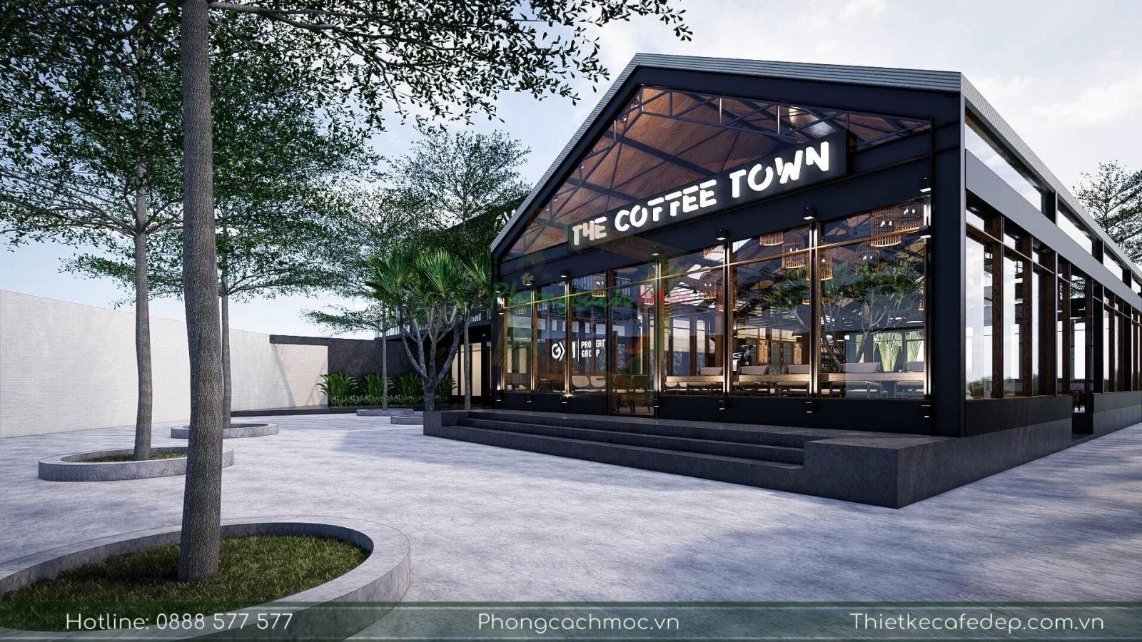 thiết kế quán cafe industrial - nhà thép tiền chế tại quận 7