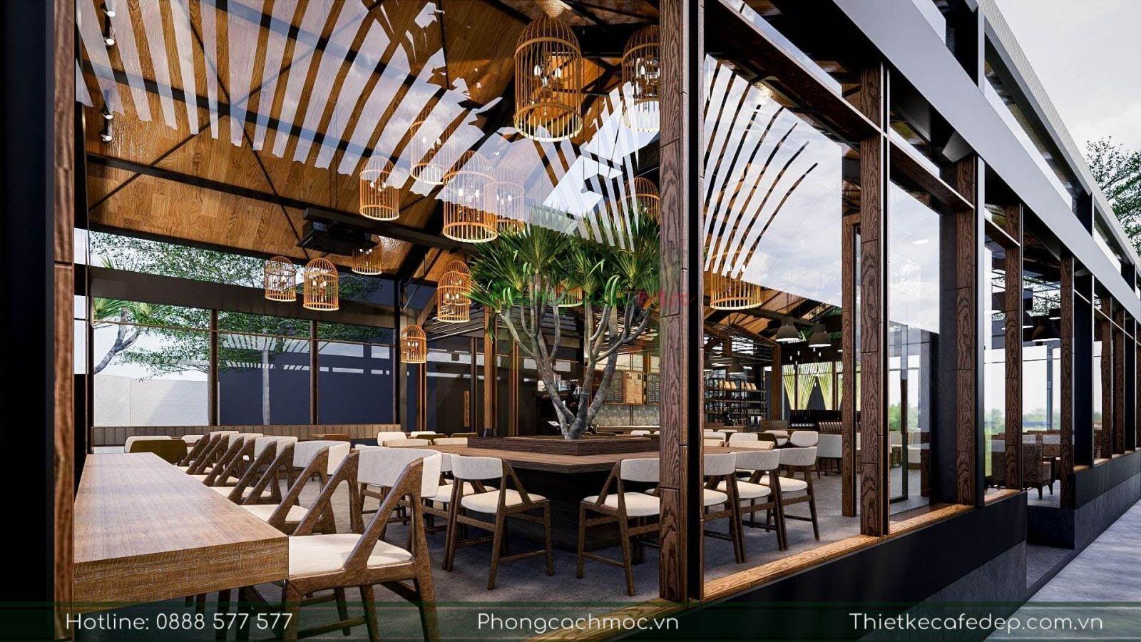 không gian nội thất quán cafe qua thiết kế cửa kính hiện đại của pcm
