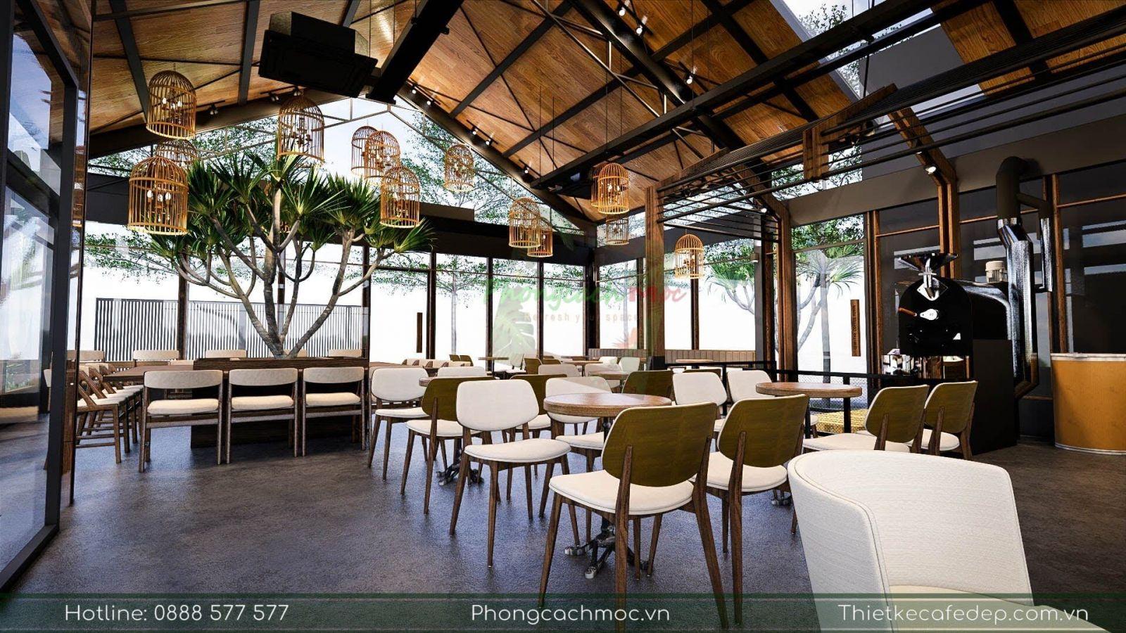 thiết kế phân chia khu vực quầy bar pha chế tại quán cafe