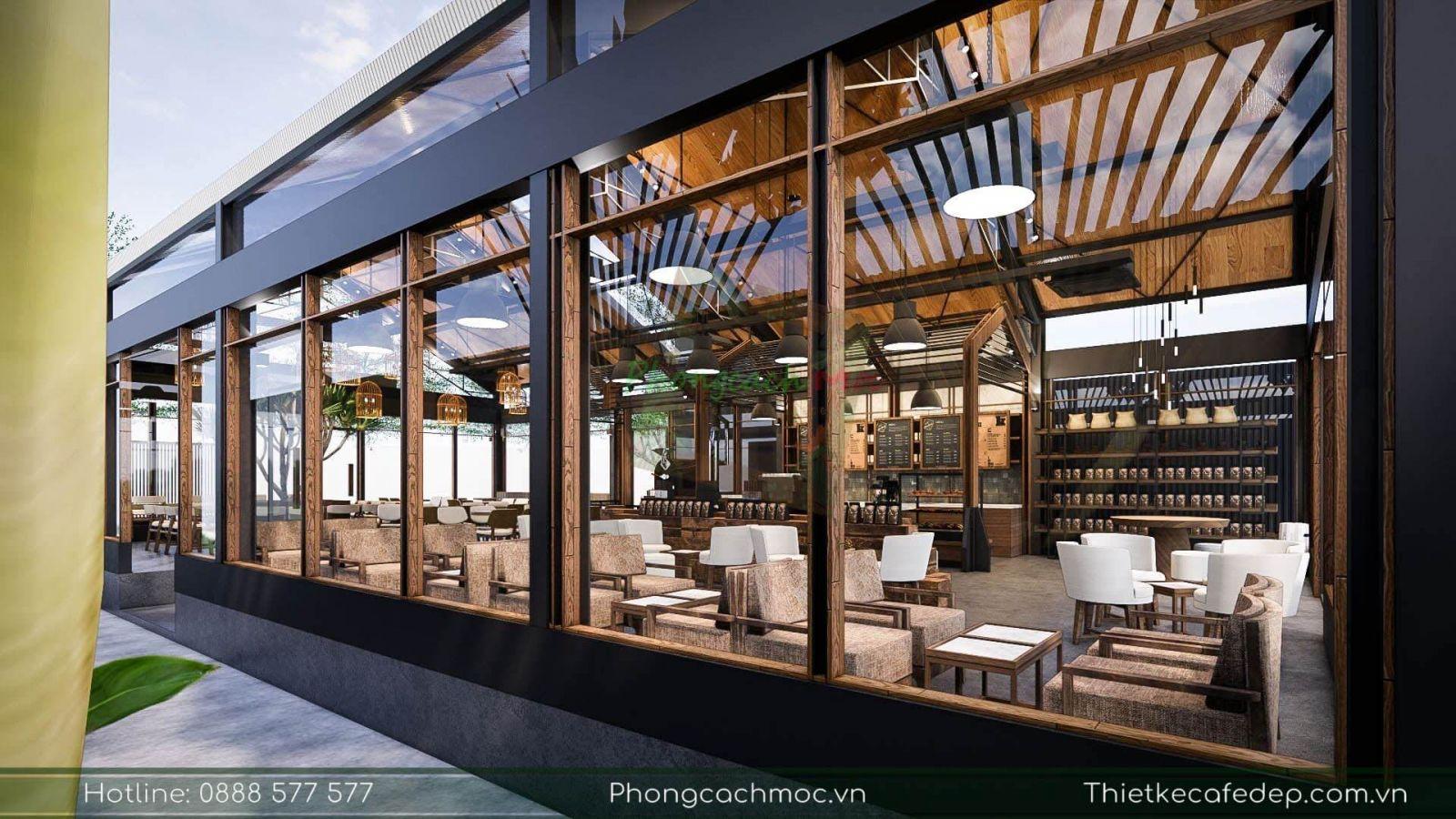 pcm thiết kế không gian nội thất quán cafe chủ đề industrial