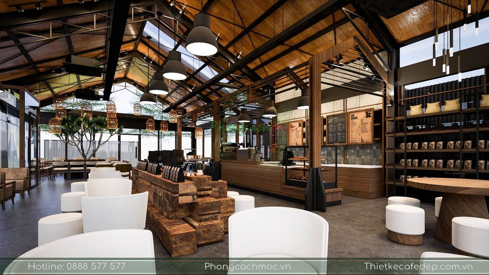 bày trí bàn ghế nội thất tại quán cafe the coffee town