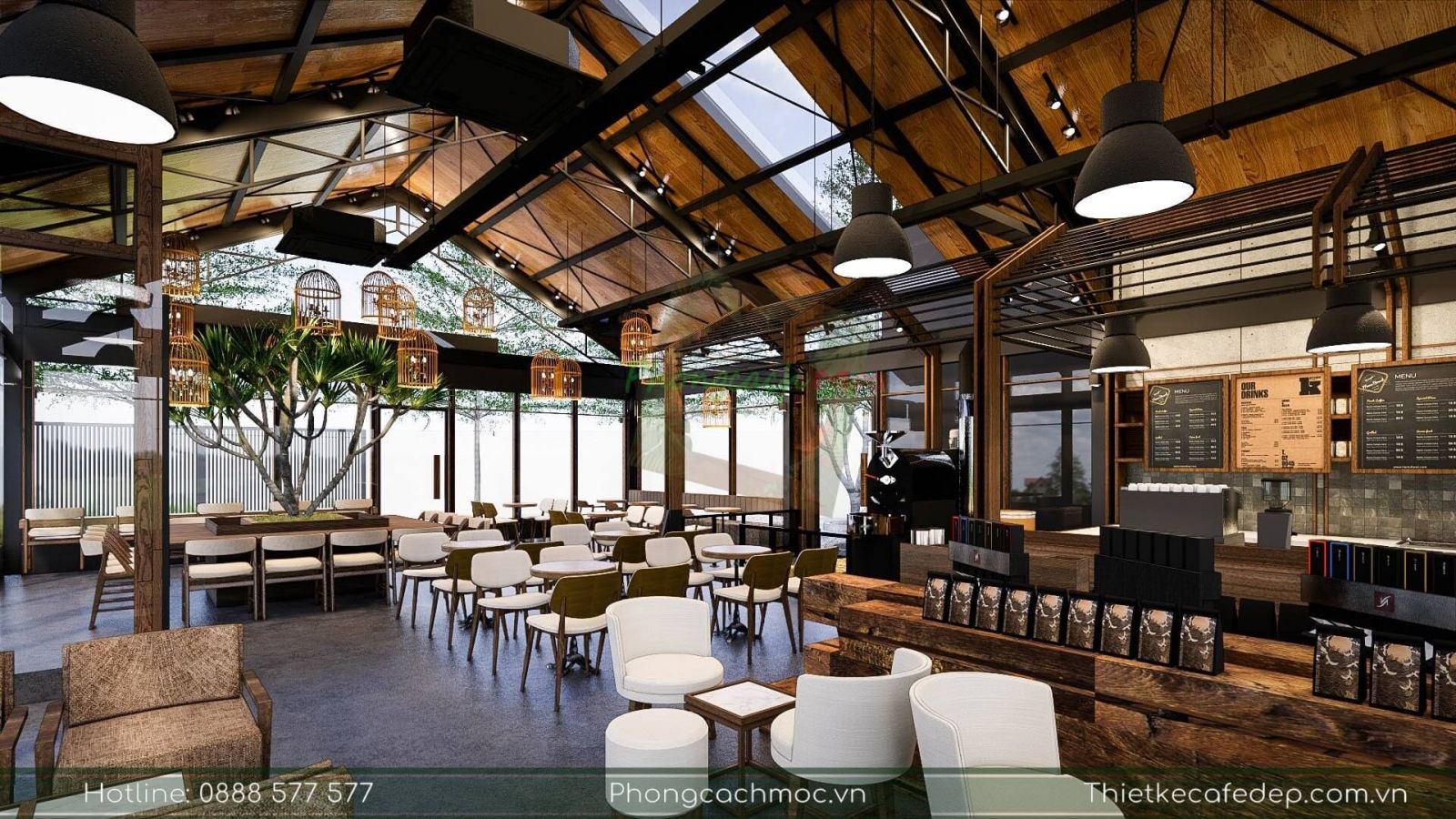 khu vực quầy bar phục vụ tại quán cà phê the coffee town