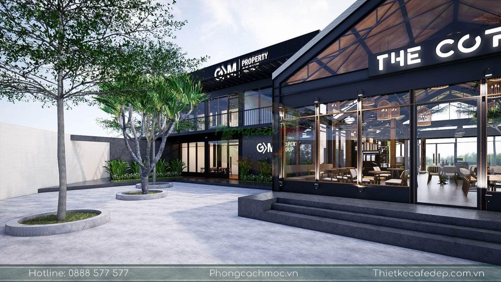 không gian ngoài trời quán cafe diện tích 970m2 tại quận 7 pcm thiết kế thi công trọn gói