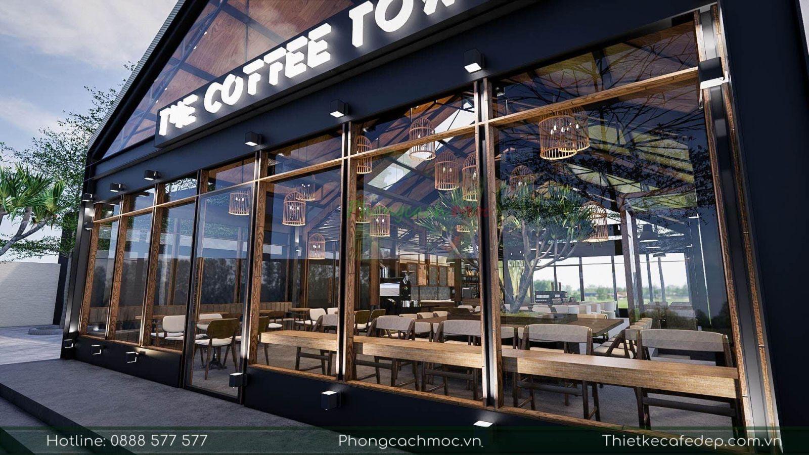thiết kế độc đáo của quán cafe the coffee town