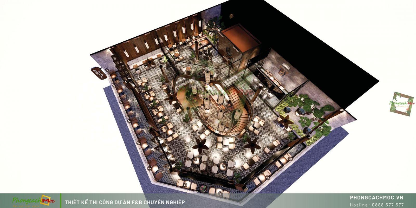 Chi tiết thiết kế mặt bằng bố trí nội thất The Oasis Coffee