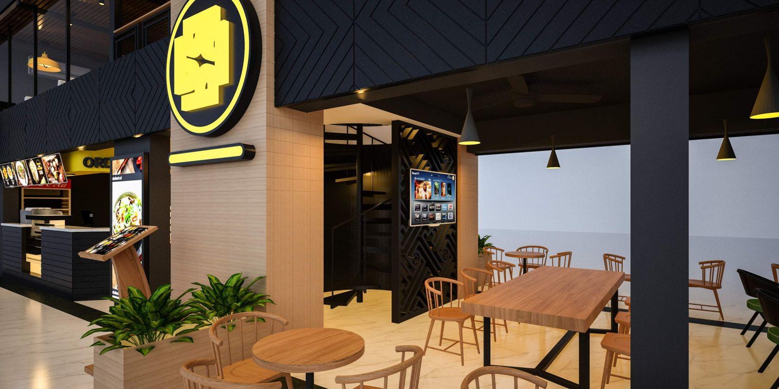 thiết kế nội thất nhà hàng với những bộ bàn ghế gỗ