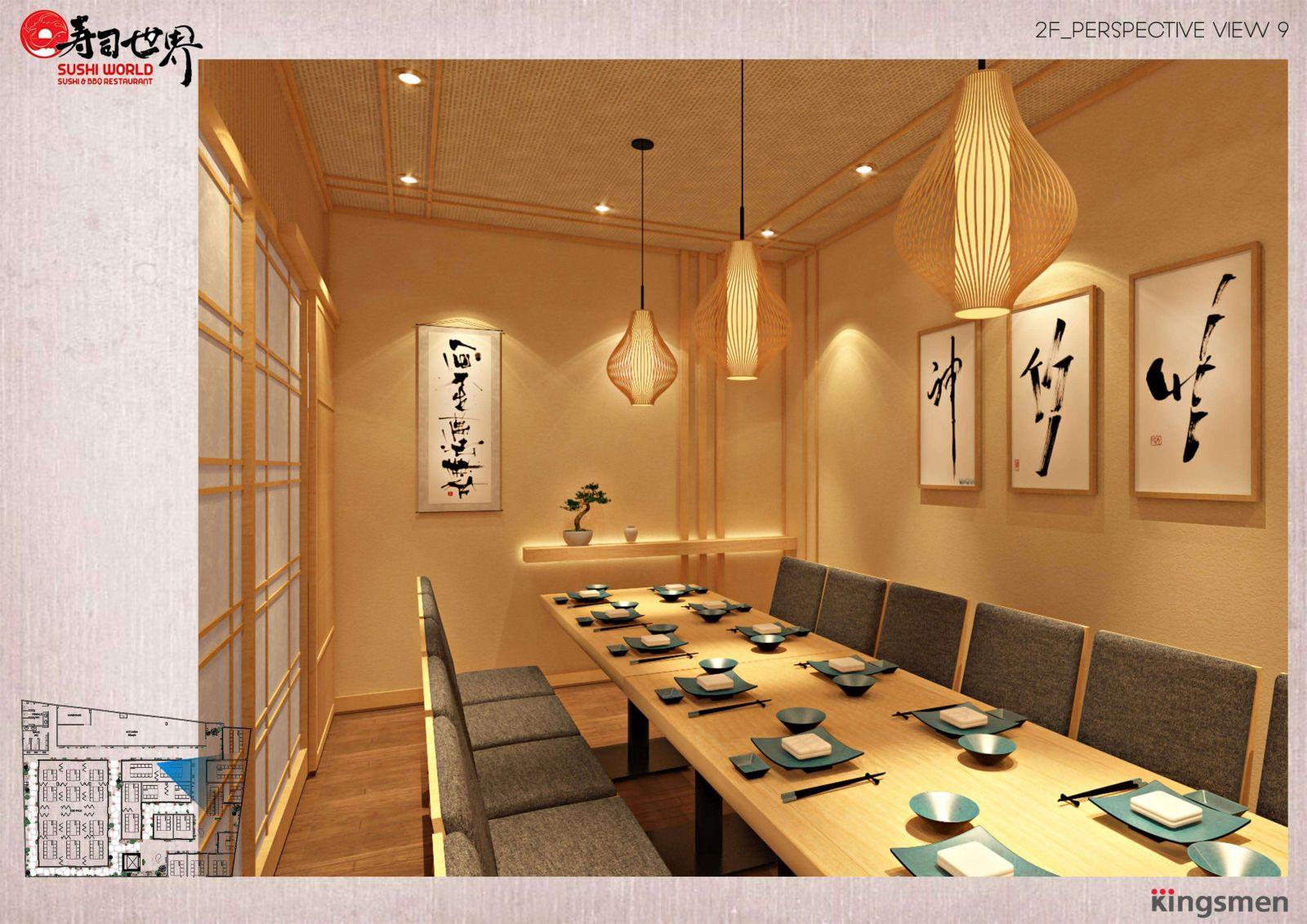 mẫu thiết kế bàn ghế nội thất cao cấp cho nhà hàng nhật bản