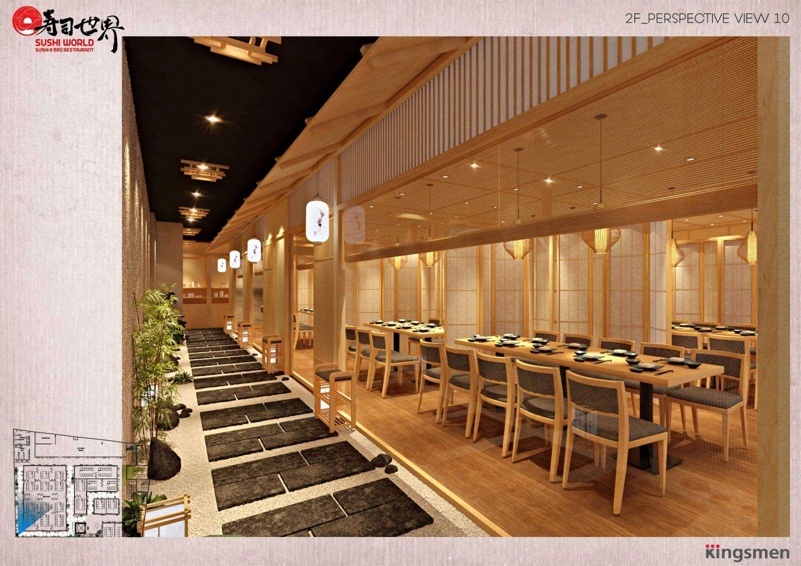thiết kế phân chia khu vực tận dụng diện tích nhà hàng
