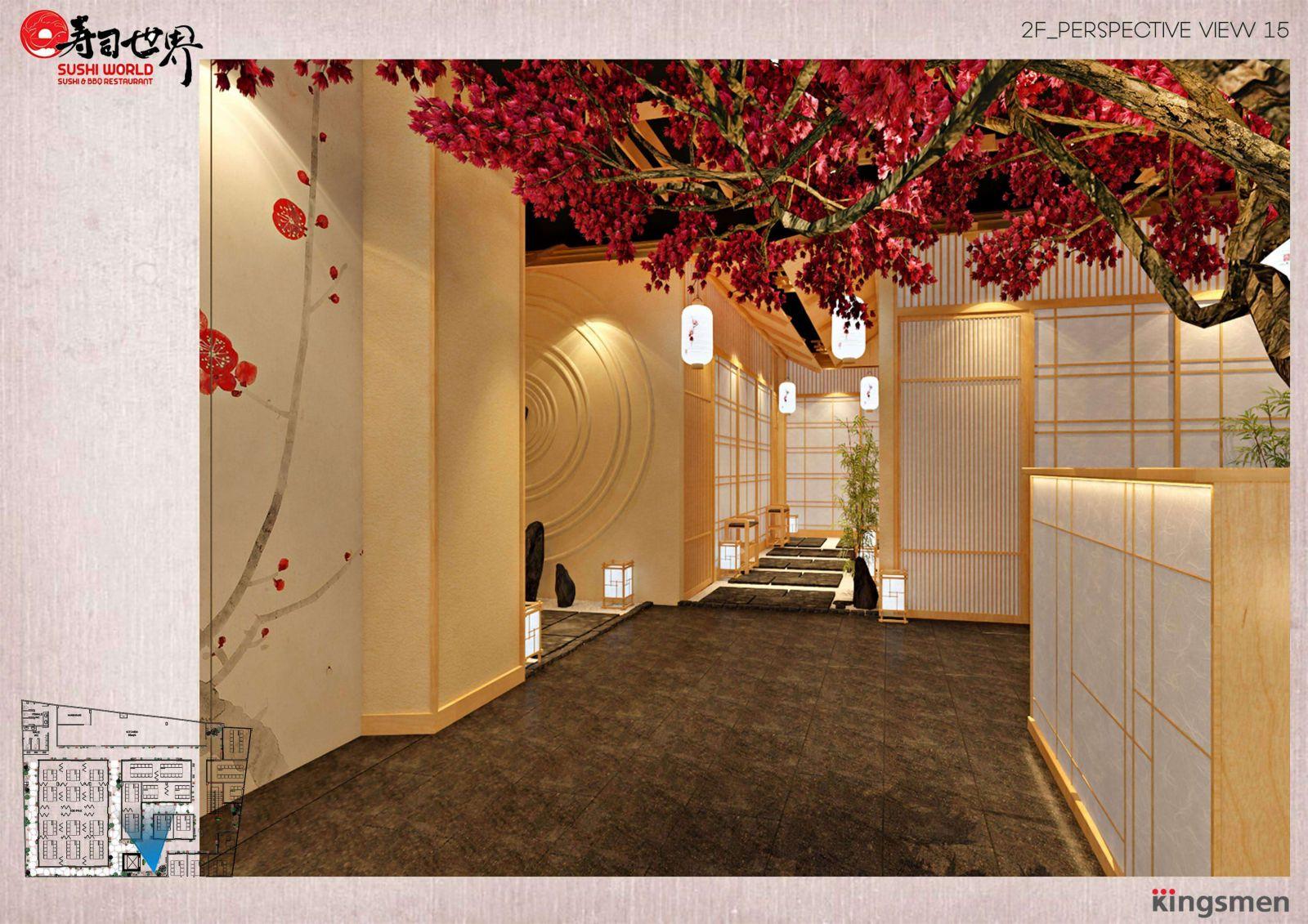 thiết kế khu vực cửa chính nhà hàng sushi world