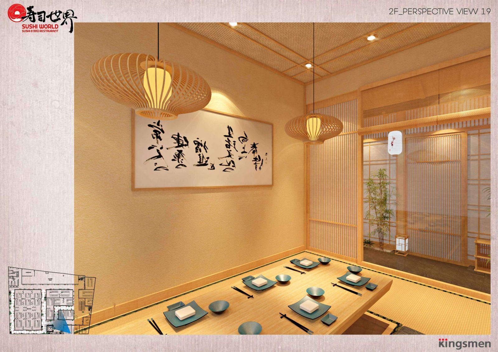 nét văn hóa của nhật bản được áp dụng vào mẫu thiết kế nhà hàng sushi world