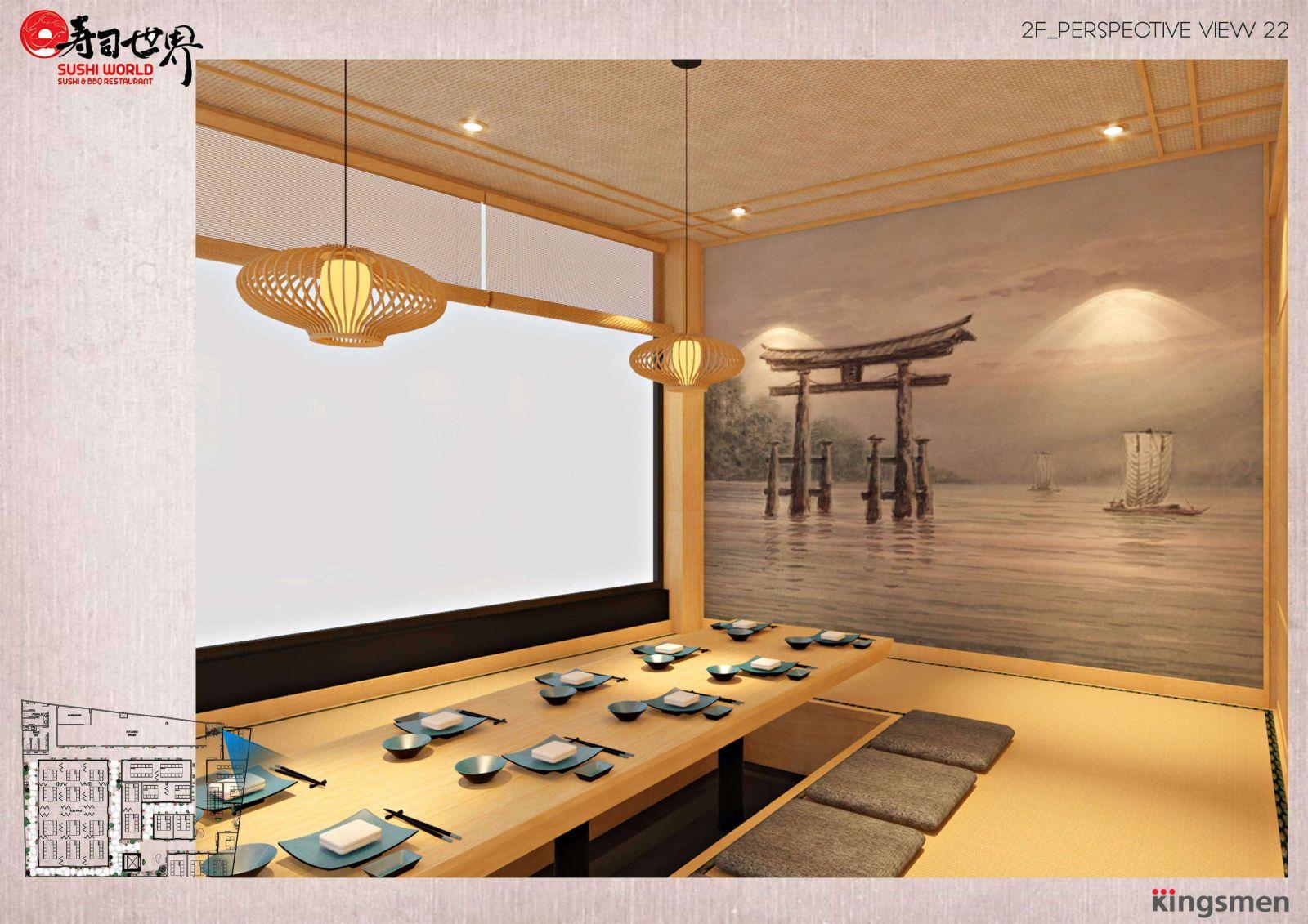 kết hợp trang trí nội thất nhà hàng bằng tranh tường
