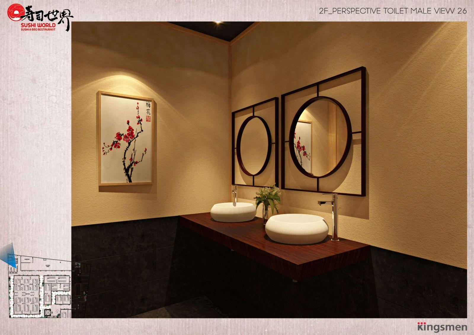 thiết kế khu vực vệ sinh của nhà hàng sushi world