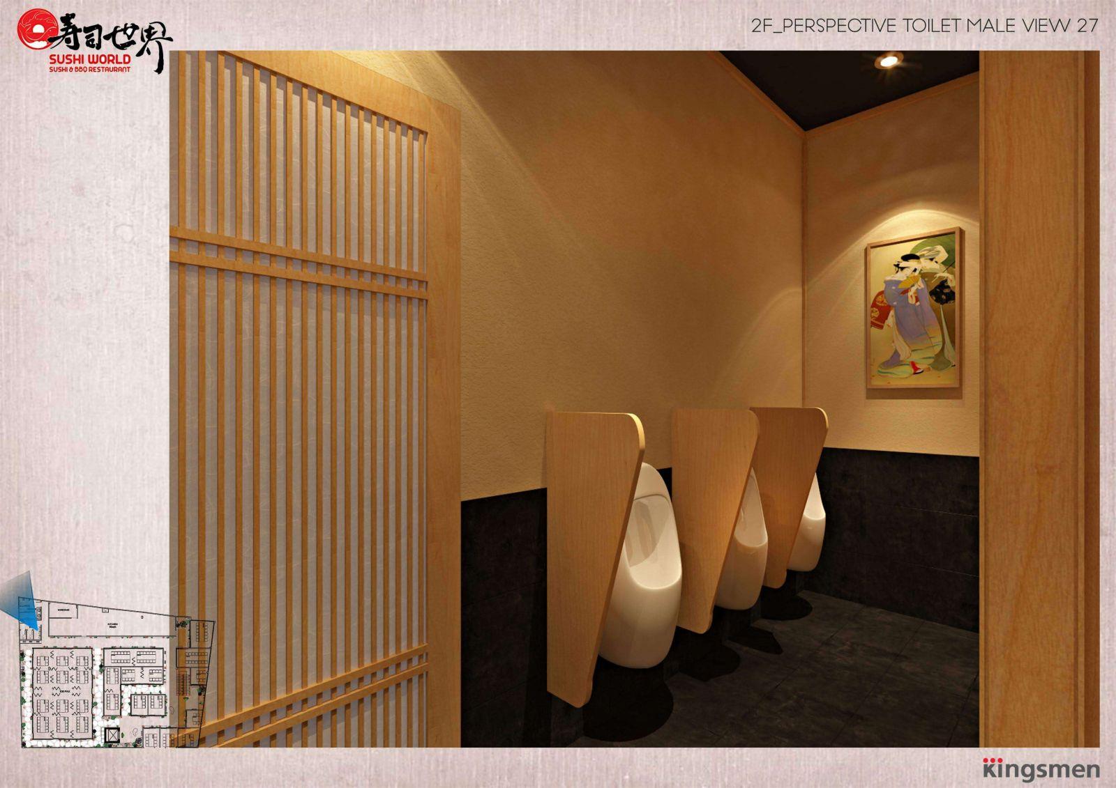 thiết kế sử dụng chất liệu gỗ trong nhà hàng nhật bản sushi world