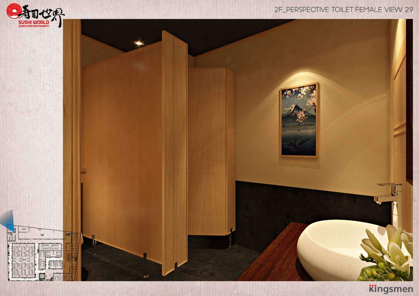 thiết kế khu vực vệ sinh tại nhà hàng nhật bản