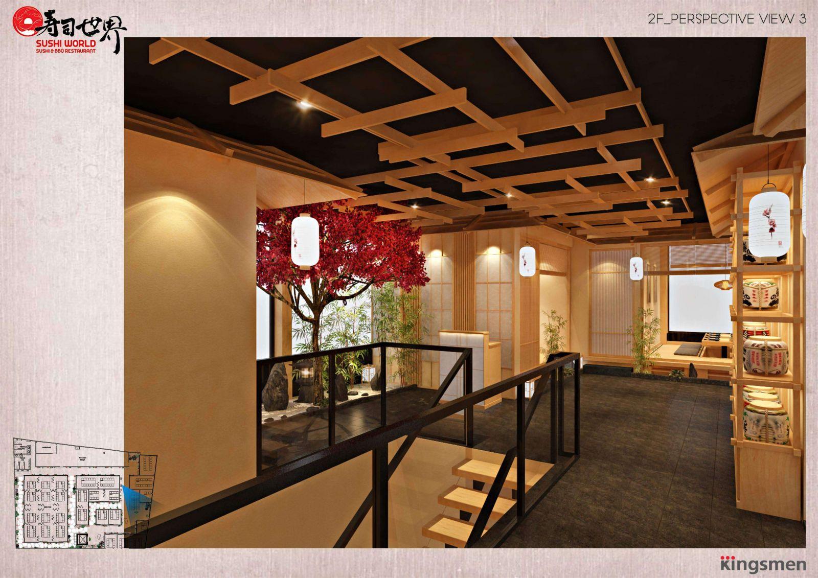 lối đi cầu thang được kingsmen thiết kế tinh tế dành cho nhà hàng sushi world