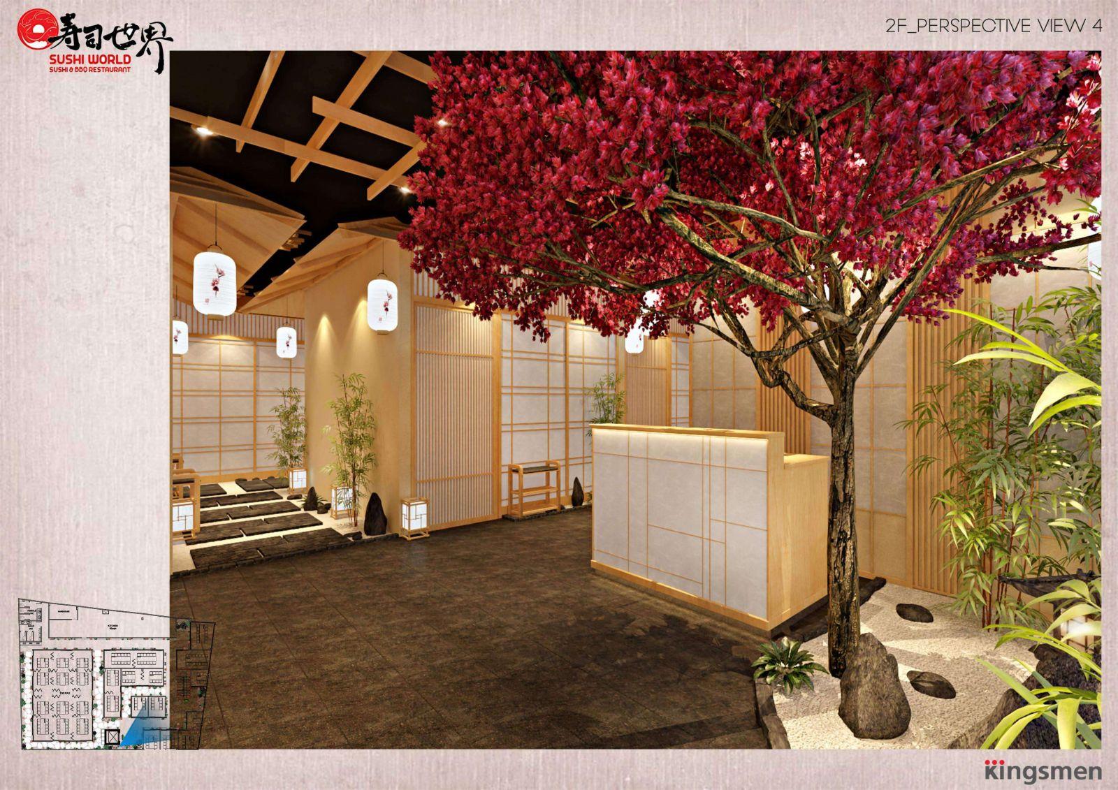 thiết kế khu vực quầy phục vụ tại nhà hàng sushi world