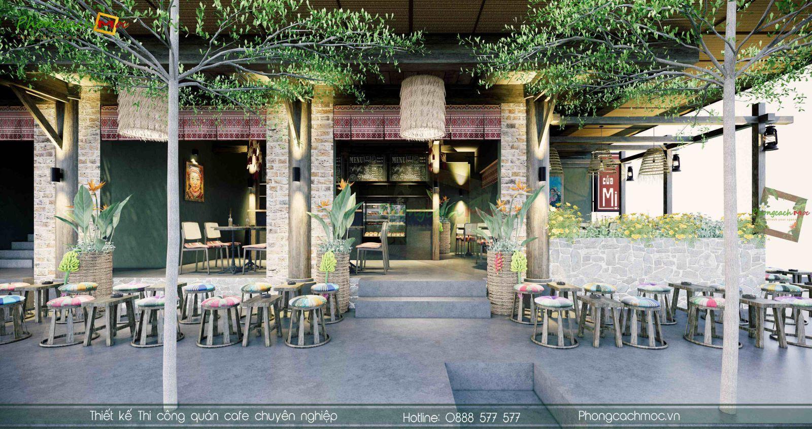 Thiết kế quán cafe Tây Bắc Nhà của Mị